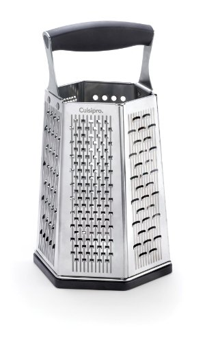 Cuisipro 7-in-1 Turmreibe Reiben, Edelstahl 301-Klinge, 304-Rahmen, PP Griff, TPR/ABS-Bodenteil, 14 x 12 x 25 cm