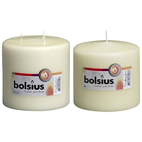 Bolsius Extra Large 3 Wick Candle, 15 x 15 cm 'Ivory' & Pillar Candle Regular , 'Ivory 100 mm Width'