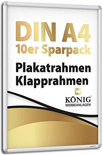 10 Plakatrahmen DIN A4 | abgerundete Ecken | 25mm Alu Profil, silber | inkl entspiegelter Schutzscheibe und Befestigungsmaterial | Alu Klapprahmen Wechselrahmen Posterrahmen | 10er Sparpack | Dreifke®
