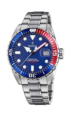 FESTINA Reloj Modelo F20480/1 de la colección AUTOMATICO, Caja de 41 mm Azul con Correa de Acero para Caballero