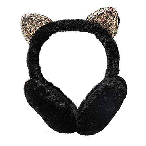 LXT Orejeras Moda mujer niña piel invierno oreja caliente lindo orejeras gato orejeras lentejuelas orejeras diadema