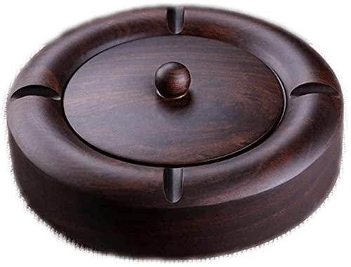 Cenicero Cenicero de ébano Cenicero para interior o exterior Cenicero de madera con tapa cenicero portátil mediano