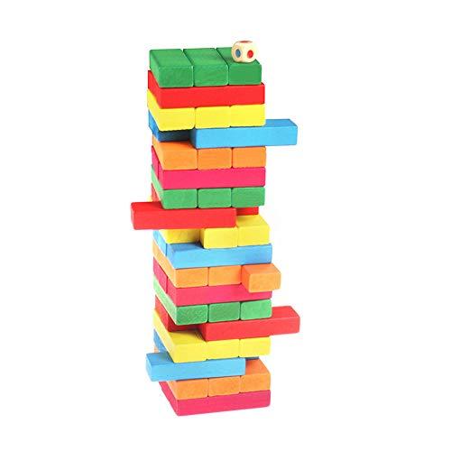 JIYUAN Wooden Tumbling Tower Block Games Family Blocks Building Game Building Blocks Stacking Toy (51pcs)
