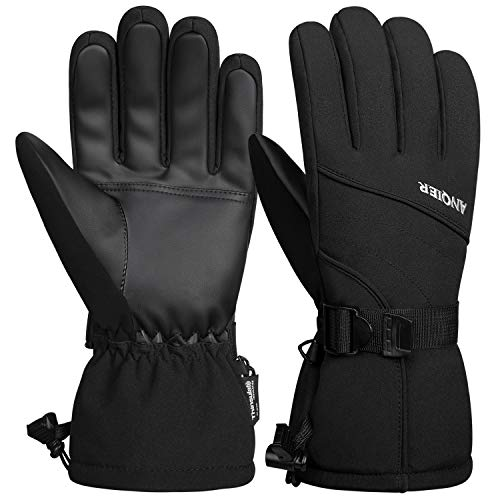 LANYI Mens Gloves Winter Waterproof Ski Gloves Thinsulate Snowboard Driving Outdoors Warm Fleece Snow Gloves Thermal Cold Weather Women Gloves Gifts for Men (Black, L)