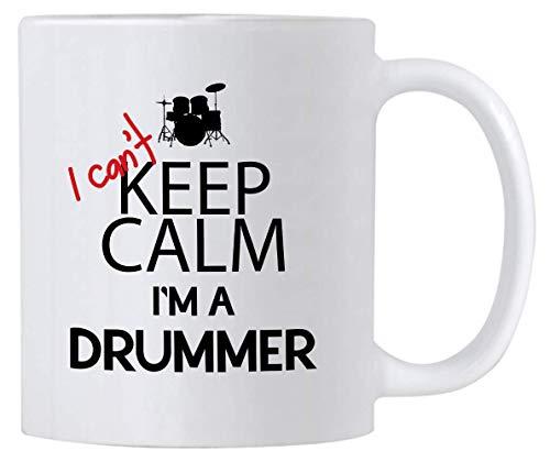 Divertidos regalos de batería con texto en inglés 'I Can't Keep Calm I'm a Drummer. Taza de café de percusión de 11 onzas. Idea de regalo para bateristas o profesores de música.