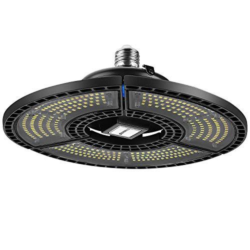 SUNMEG LED UFO Lampada Garage Deformabile, 80W Proiettore Faretto LED Lampadario UFO Lampada Interni Industriale, Luce Bianca 6000K Illuminazione LED E27 9600LM Lampada Officina