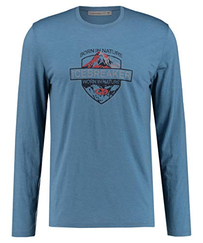 icebreaker Herren Mens Spector LS Crewe Alpine Crest Merino T-Shirt Langarmshirt, Thunder, M