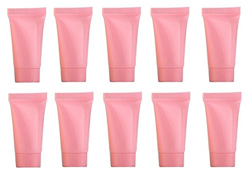 24Pcs 5ml/0.2oz Mini Portable Plastic Hose with Screw Lid Refillable Squeeze Bottle Soft Tube Cosmetic Container Vials Makeup Dispening Tool Holder for Facial Cleanser Toothpaste Hand Cream (Pink)