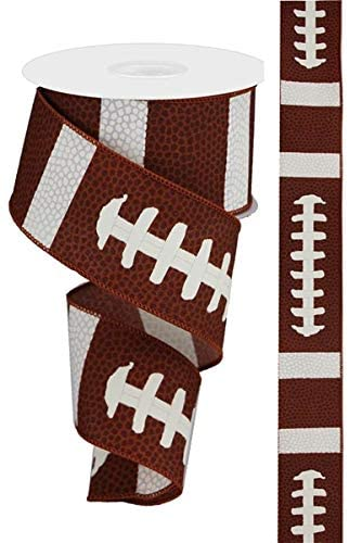 Football Wired Ribbon By the Roll 2.5 X 10 Yard Roll RG01433NF