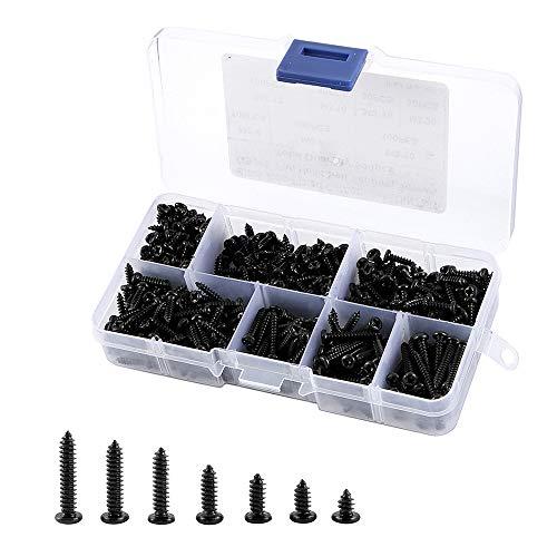 Lote de 500 tornillos autoperforados M3 negro, tornillos autorroscantes con cabeza redonda para metal de madera flexible, con caja de plástico