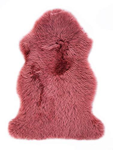 Luxor Living Kuscheliges Schaffell aus 100% Lammfell mit Lederrücken, Wohnzimmer Teppich Schlafzimmer, Weiches Echtes Fell, Fellteppich, Wolle, 85 cm