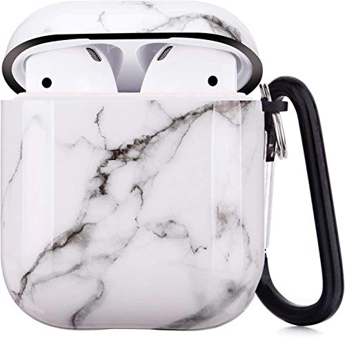 Cujas Schutzhülle kompatibel mit Apple AirPods 1 & 2 – Unterstützt kabelloses Laden – Mit praktischem Karabiner, Glänzende Oberfläche, Stoßfestes Case, Perfekte Passform – Weißer Marmor