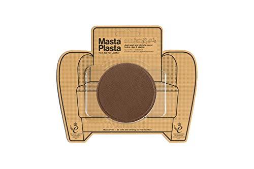 MastaPlasta Self-Adhesive Premium Leather Repair Patch, Large Circle, Tan - 3 x 3 Inch - First-aid for Sofas, car Seats & More