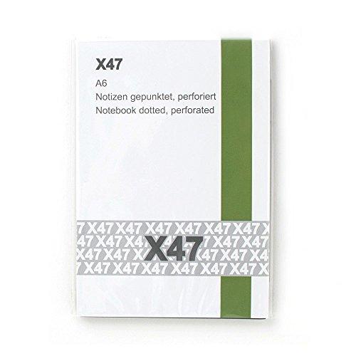 X47- A6 Notizen Hochkant gepunktet - passend für den X47-Organizer/Tageskalender/Terminkalender, mit Röhrchen am Rücken, Umschlag Schwarz/Weiß