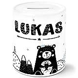 SpecialMe® Kinder Spardose mit Namen Bär Tiere Skandi Style Sparschwein Keramik Jungen weiß...