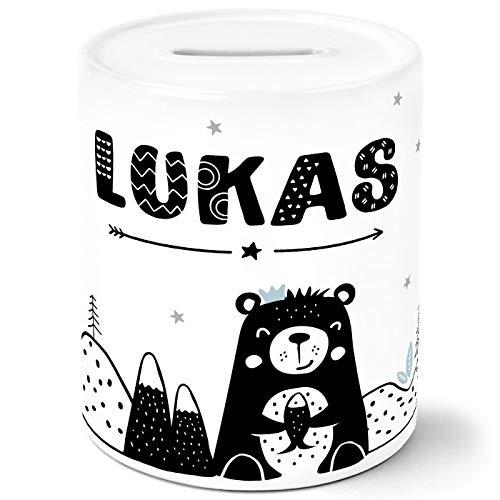 SpecialMe® Kinder Spardose mit Namen Bär Tiere Skandi Style Sparschwein Keramik Jungen weiß Unisize