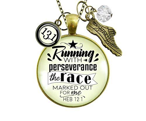Gutsy Goodness Runners Half Marathon Necklace 13.1 Run Perseverance Faith Jewelry 24'