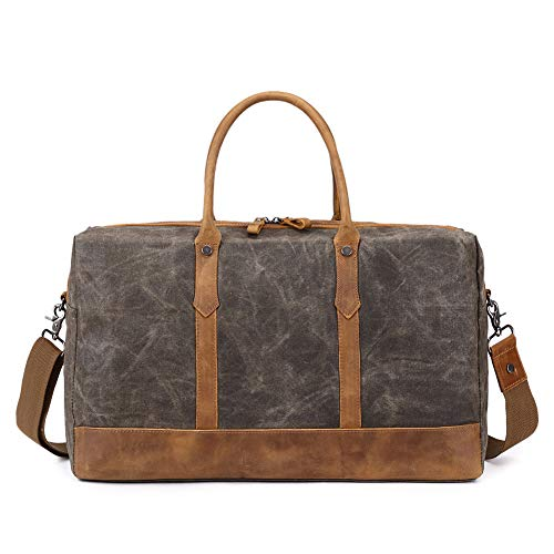 FengRui ÜbergroßerReisetaschen,HandgepäckReisetasche Weekender Tasche Vintage Handtasche, SegeltuchLederbesatz Unisex Schultertasche(Armee Grün)