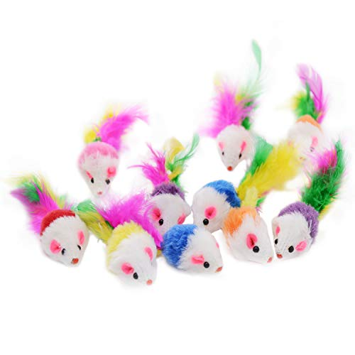 Famgee 20 PCS Furry Cat Toys Squeak Mouse Rattle Mice Cat Catcher Pet Toys with Feather Tails...