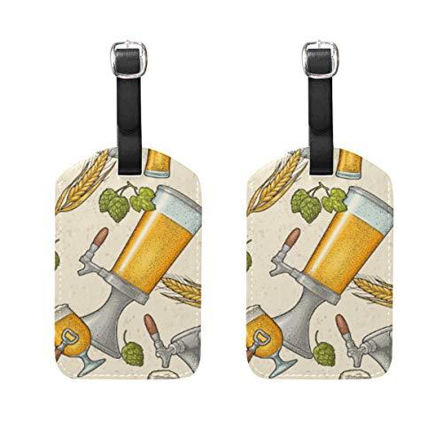 WINCAN Etiquetas de Equipaje (variadas,2PK),Patrón Sin Fisuras con Cerveza Grifo Vidrio Puede,Etiqueta de Equipaje para Equipaje,Mochilas Etiquetas de Maleta