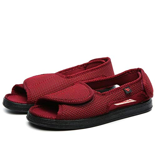 B/H Arthritis Ödem Wide Fit Hausschuhe,Erhöhen Sie Klettverformung Fuß geschwollene Schuhe,Daumen Valgus Plus Größe Diabetes Schuhe-Wein rot_40