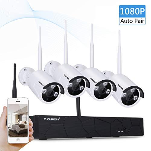 FLOUREON Überwachungkamera Set kabellos (4CH 1080P NVR Videorecorder + 4X 960P Überwachungskamera Außen Sicherheitskamera) Wasserdicht, Nachsicht P2P, H.264, Beweungsmelder