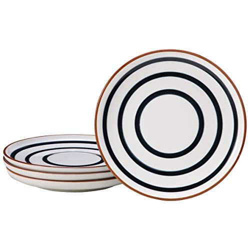 EAMATE 8' Porcelain Lunch Plate, Hand Painted Stripe Pattern Dinner Plate, Modern Serving Plate, Classic Round Serving Plates for Pasta, Set of 4 (8 In)
