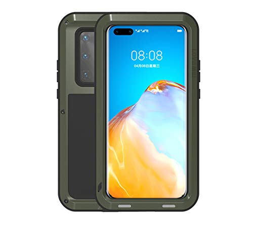 Huawei P40 Pro Case, Love Mei Aluminum Metal Gorilla Glass Waterproof Shockproof Military Heavy Duty Sturdy Protector Cover Hard Case for Huawei P40 Pro (P40 Pro, Green)