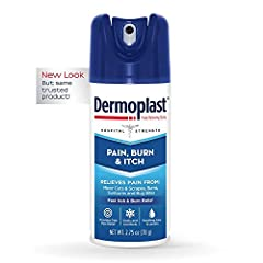 Relieve pain fast: Childhood & Family life are full of little irritations. Use Dermoplast Pain & itch Spray to quickly relieve the pain & itch of minor cuts, scrapes, burns, insect bites, & sunburn Soothe, cool, & moisturize: Dermoplast combines hosp...