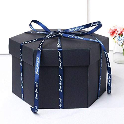 Creatieve explosiebox 13 cm hoog liefde opslag fotoalbum DIY verrassing meerlaags als cadeau voor verjaardag verjaardag zwart