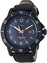 Timex Men's TW4B14700 Expedition Gallatin Solar Black Leather Strap Watch