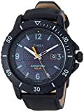 Timex Men's Sport Expedition Gallatin Solar 45mm Leather Strap Watch, Black Dial, Black