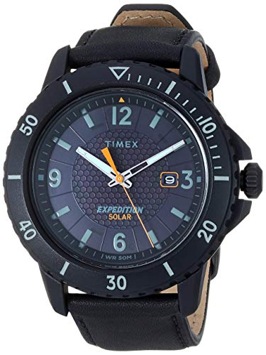 Timex TW4B14700 Men's Expedition Gallatin Solar Powered Black Leather Strap Watch