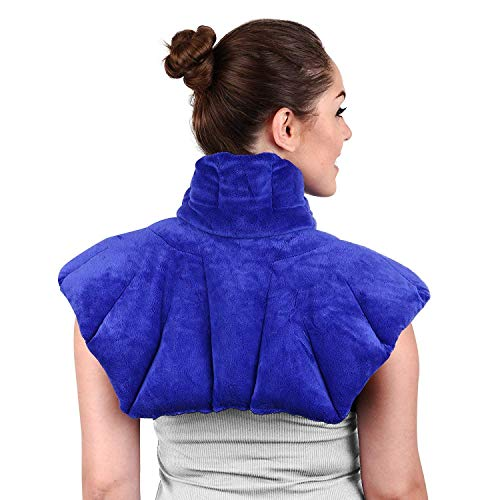 Large Microwavable Heating Pad for Neck and Shoulders, Neck Relief, Stress Relief, Anxiety Relief, Neck Wrap Alternative to Rice Bags for Heat Therapy (Blue Unscented)