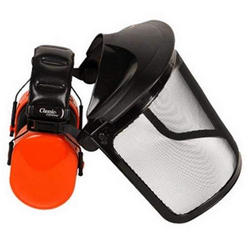 arbeitsbedarf24 Gesichtsschutz und Gehörschutz mit klappbarem Visier aus Stahlnetz