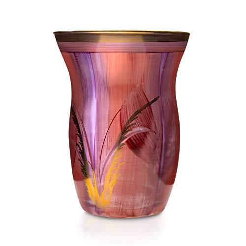 Angela Neue Wiener Werkstätte Vase Monika, Bordeaux Glasvase bemalt, vergoldet, Glas, Rot, mittelgroß