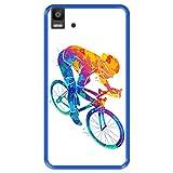 Hapdey Coque pour [ Bq Aquaris E5s - E5 4G ] Dessin [ ciclista Colorato Astratto ] Etui en Silicone...