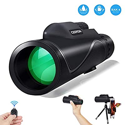 Ceenda Monocular Telescope,12X50 High Power&HD Monocular with Universal Smartphone Holder and Wireless Remote Control-Waterproof Scope, BAK4 Prism for Bird Watching, Hunting, Surveillance, Hiking from Ceenda