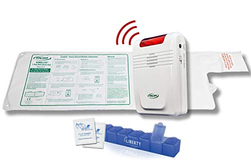 """Smart Caregiver Wireless Bed Alarm System - Cordless Weight Sensing Bed Alarm Pad (10"""" x 30"""") with Remote Alert Monitor, Free Individual Cleaning Wipes and Liberty 7 Day Pill Box"""