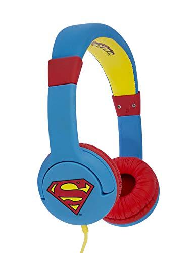 Superman Man of Steel DC0262 - Auriculares de Diadema Cerrados Junior con función de Seguridad de limite de Volumen a 85 db para niños Entre 3 y 7 años, Color Azul y Rojo
