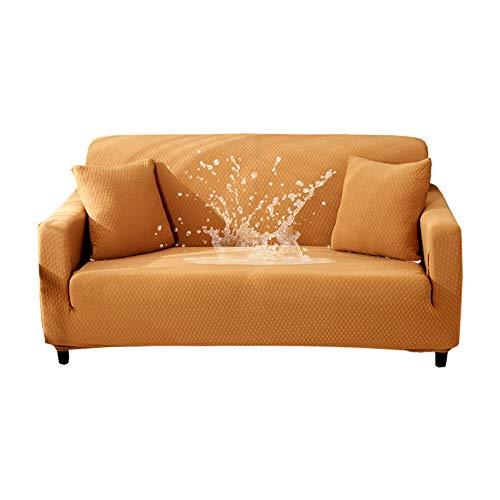 HOTNIU Wasserdichtes Stretch Sofa Schonbezug - 1-Piece Dehnbarer Stoff Couch Cover - Beflockt Muster Ausgestattet Couch Schonbezug (3-Sitzer, Braun)