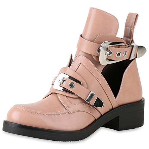 SCARPE VITA Damen Ankle Boots Cut Outs Stiefeletten Leder-Optik Schuhe Kurzschaft-Stiefel Schnallen Punk Look Biker Booties 158416 Rosa 37