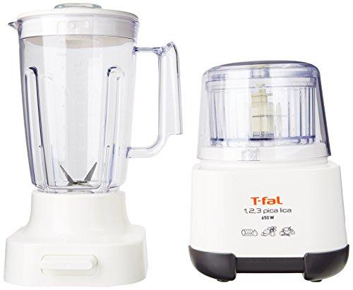 T-fal MF6021MX Procesador de alimentos Picalica, con potencia de 500 watts y bowl con capacidad de 200gr y vaso licuador de 2L, Color Blanco con negro, cuenta con tapon...