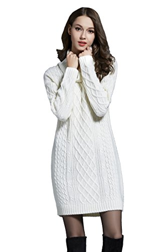 Angcoco Women's Long Sleeves Soft Turtleneck Knit Pullover Sweater Dress