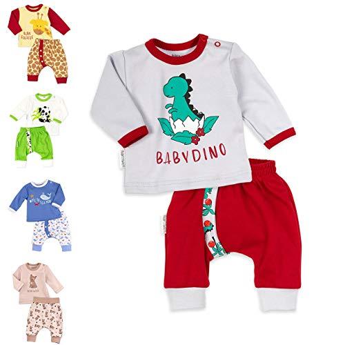 Baby Sweets Unisex 2er Baby-Set mit Hose & Shirt für Mädchen & Jungen/Baby-Erstausstattung in Grau, Rot & Grün im Dino-Motiv/Baby-Kleidung aus Baumwolle in Größe: Newborn (56)