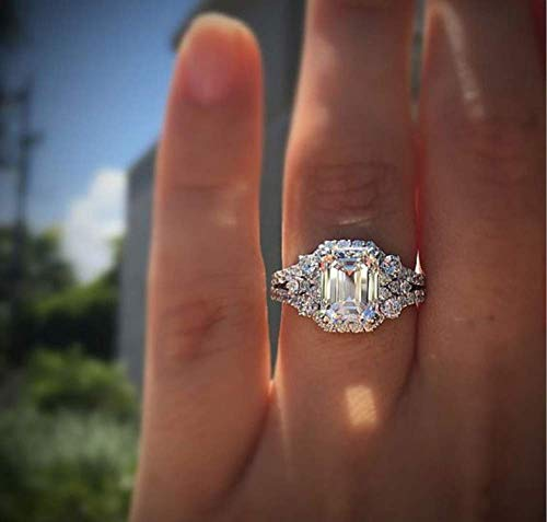 Duan New Princess Square Simulation Diamond Ring 925 Silver Elliptical Perfect Cutting 3ct CZ Engagement Rings Size 6-10 (US Code 9)