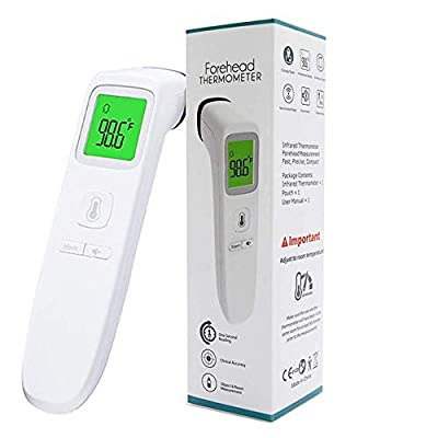 SaNgaiMEi Ear Forehead Thermometer, Digital Infrared Non-Contact Temporal with Instant Accurate Reading,Fever Alarm and Memory Function – Ideal for Babies, Infants, Children, Adults, Indoor, Outdoor