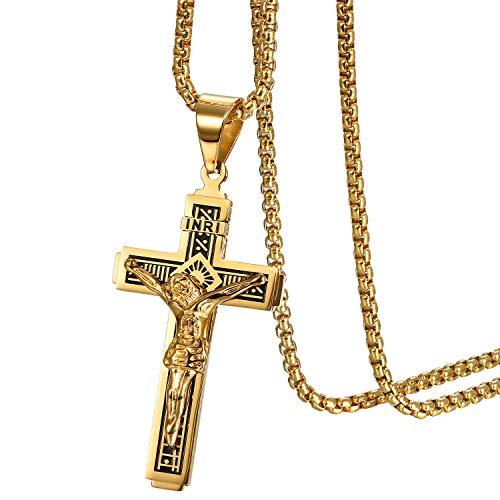 Heren kruis halsketting met hanger, vintage biker roestvrij staal Jezus crucifix hanger met ketting 56 cm, goud