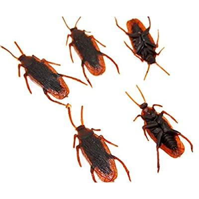 BESPORTBLE Fake Roaches, 50Pcs Halloween Prank Props - Realistic Plastic Cockroach for April Fools Day Halloween Party Favors and Decorations Props Boys Girls Gifts