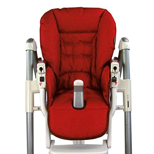 BambiniWelt Cojín de asiento, funda de repuesto para trona Peg Perego Prima Pappa Diner, 9colores rojo rojo